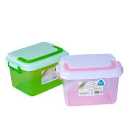 茶花 6.5L收纳箱 小号透明塑料加厚带盖收纳盒把手储物整理箱小药盒子 3只装 *3件