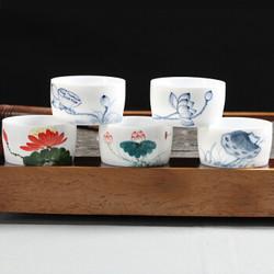 百鸿 德化高白玉瓷薄胎茶杯   透光直口杯  单杯  多款 *2件