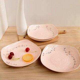雅诚德arst日式樱花陶瓷釉下彩时尚四方盘饭盘套装粉色8英寸(4只装) *7件