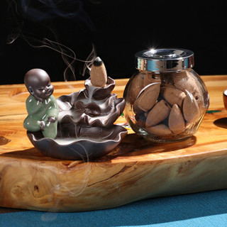 尚帝(shangdi) 哥  窑冥想荷叶玻璃倒流香粒   2件套 *2件