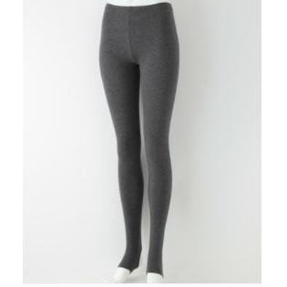 无印良品 MUJI 女式 棉混 弹力天竺踏脚裤 炭灰色