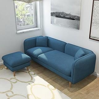 择木宜居 实木布艺沙发组合 三人位+脚踏 蓝色