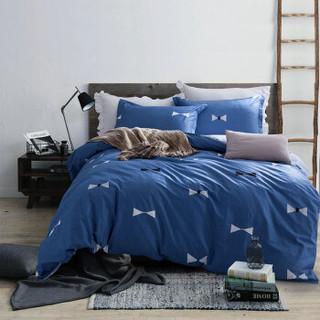 迎馨家纺 全棉套件亲肤高支高密斜纹印花双人床被套床单四件套 适用1.5/1.8米床 森林(蓝) *2件+凑单品