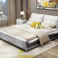 曲尚 现代牛皮双人床+山棕床垫+床头柜