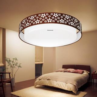 松下 LED吸顶灯分段调光卧室灯书房灯布艺灯圆形HHLA1781 21W 樱花系列 棕色