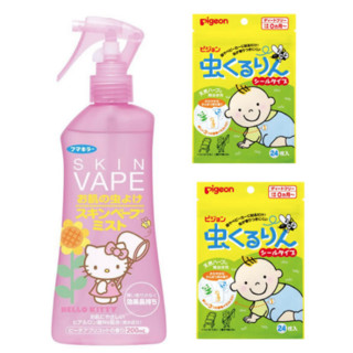VAPE 未来 Hello Kitty 驱蚊喷雾 桃杏香型 200ml+Pigeon 贝亲 儿童驱蚊防蚊贴 24枚*2袋
