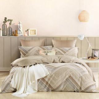 水星家纺 床上四件套纯棉 全棉磨毛印花居家套件四件套 左右格调 双人1.5米床