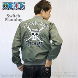 Switch Planning ×ONE PIECE 海贼王 草帽路飞海盗旗 两面穿刺绣飞行员夹克