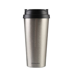 乐扣乐扣(LOCK&LOCK) 不锈钢保温杯 车载翻口盖水杯 商务咖啡杯540ml银 LHC4151SLV *2件