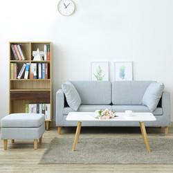 精邦家具 沙发北欧简约客厅布艺沙发 可拆洗三人位带脚踏诺斯伯沙发 浅灰色KT-8801