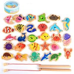 趴趴狗 儿童磁性钓鱼积木 28条鱼+钓鱼竿
