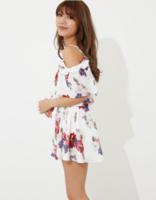rienda glossy flower 女士甜美性感连体裙裤 白色