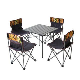 沃特曼Whotman户外折叠桌椅套装折叠餐桌宣传桌铝合金野餐桌椅五件套自驾游装备WT2277