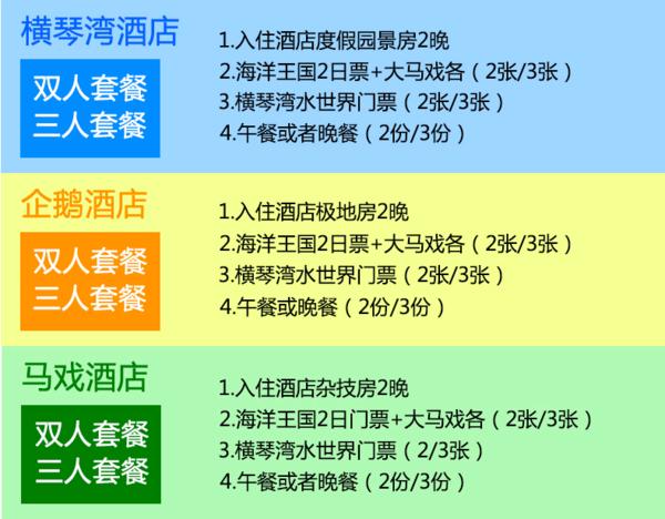 珠海长隆企鹅/横琴湾/马戏酒店3天2晚住宿+乐园套票
