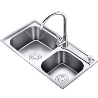 KEGOO 科固 K10002 304不锈钢水槽双槽+全铜冷热龙头套装