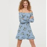 H&M HM0583976 女士一字肩印花连衣裙