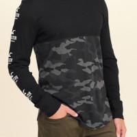 HOLLISTER 男士迷彩拼接T恤