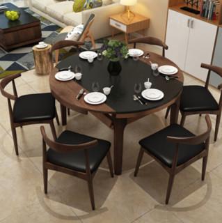 中派 火烧石实木可伸缩餐桌椅组合 1.35米 (一桌四椅)