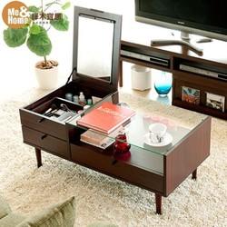 择木宜居 小户型客厅小茶几钢化玻璃抽屉收纳茶几化妆镜子