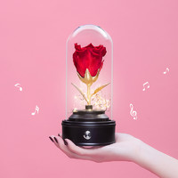LA CHANSON 永生花带灯智能蓝牙音响发光玻璃瓶
