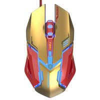 宜博(E-3LUE)M639 钢铁侠3有线游戏鼠标 金色