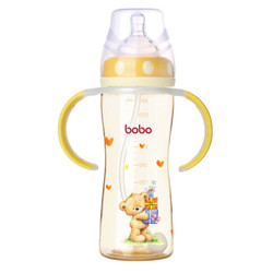 bobo 乐儿宝 小金瓶系列 宽口径PPSU奶瓶 300ml 黄色 *3件