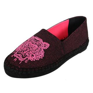 KENZO 高田贤三 女士暗红色帆布虎头图案平底渔夫鞋  2ES180 F53 26 37码