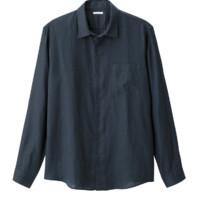 GU男装麻衬衫 2018春季简约纯色舒适大气长袖上衣295632极优
