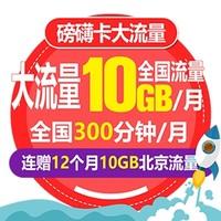 北京电信 磅礴卡 4G号卡 前3月套餐费0.1元/月