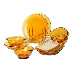 DURALEX 多莱斯 碗盘餐具四人8件套琥珀色法国进口