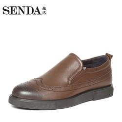 senda/森达专柜同款摩克休闲打蜡擦色牛皮布洛克男鞋MC102DM6
