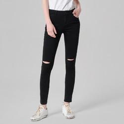 考拉工厂店 女士春款破洞修身窄脚牛仔裤