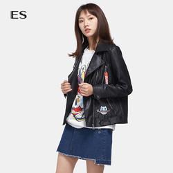 艾格ES 2017 春新品时尚可爱卡通印花立体修身夹克女170321038