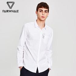 商场同款马克华菲长袖衬衫男2017春季新品修身纯棉717103012002