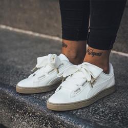 PUMA 彪马 Suede Basket 蕾哈娜蝴蝶结 米白色休闲板鞋女鞋