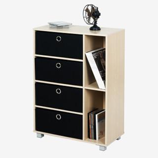 9慧乐家 六格多功能带抽收纳柜 简约时尚储物柜 斗柜 木纹色 11159