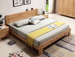 美天乐 北欧实木床 简约现代1.8米双人床 1.5m卧室单人床 日式原木色家具(1.8米*2原木色 床)