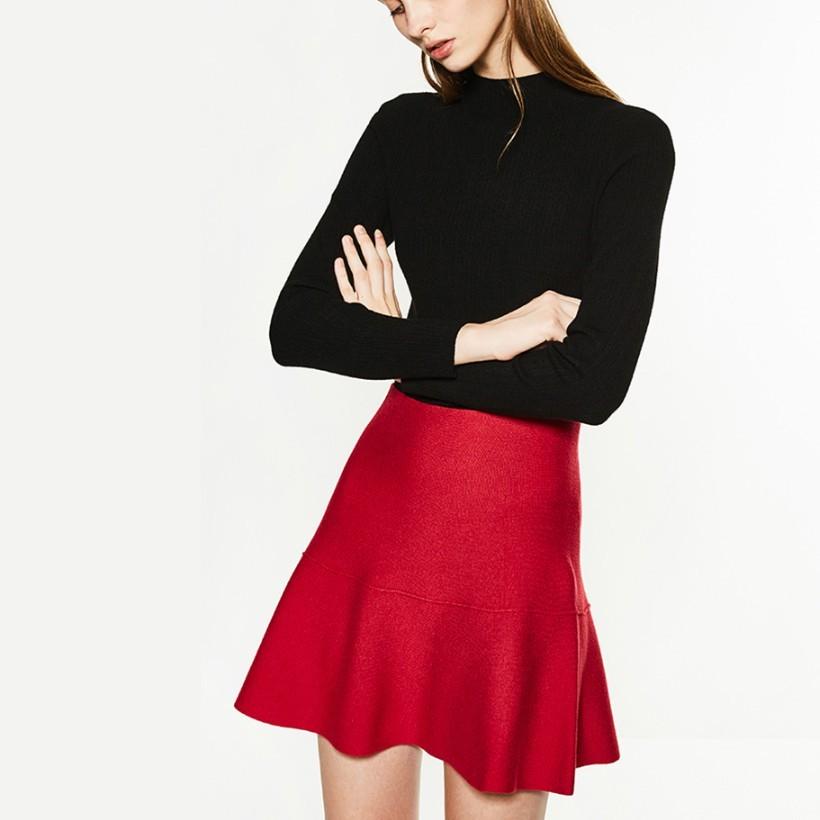C&A 200198602 针织高腰荷叶边短裙