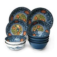 美浓烧 釉下彩红花鸟陶瓷碗盘餐具礼盒套装 10件套