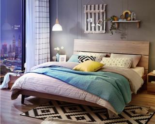 林氏木业 床底无储物床 DV1A+DV1B床头柜+LS015CD16B床垫 1.5米