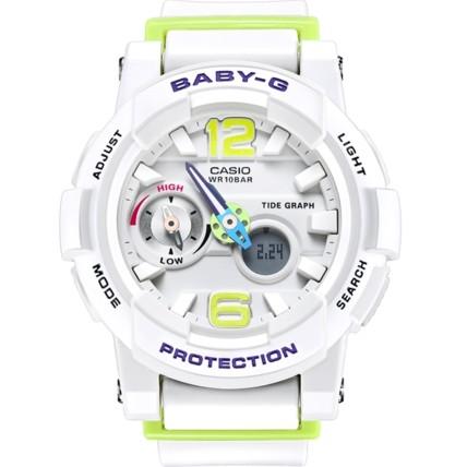 CASIO 卡西欧 BABY-G系列 BGA-180-7B2 女士电子手表 41.68mm 白盘 白色树脂表带 圆形