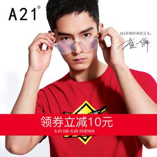 1日0点:A21男装新款男士印花红色T恤男短袖学生圆领纯棉休闲个性上衣春夏