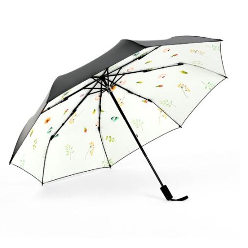 PARAKITO 帕洛奇 花物语系列 黑胶三折晴雨两用伞 米白色