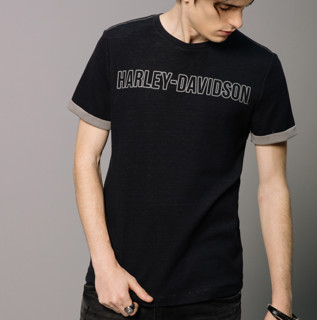 Harley-Davidson 男士字母印花圆领T恤