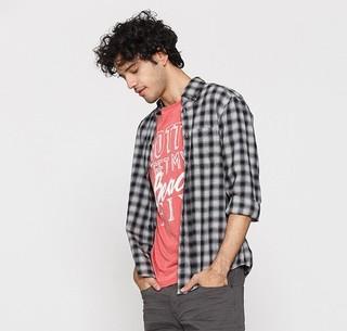 ESPRIT 127EE2F009 男士格纹款长袖衬衫