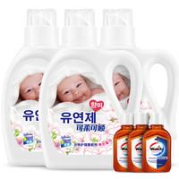 可柔可顺 超值柔顺剂组合装(护理剂1kgx3+消毒液60mlx3+环保袋)