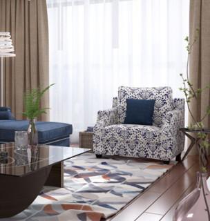 林氏木业 1013 美式单人位沙发 藏蓝色