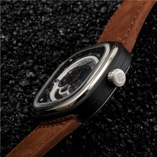 CIDILEN 希迪伦 机械表 男表 全自动 镂空 进口机械机芯 方形手表 防水 时尚潮流腕表 真皮机械表 银色