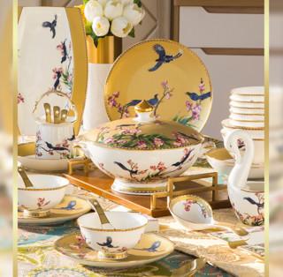 奥唯 新中式釉上彩骨瓷高档碗盘套装 鸾凤和鸣 60头