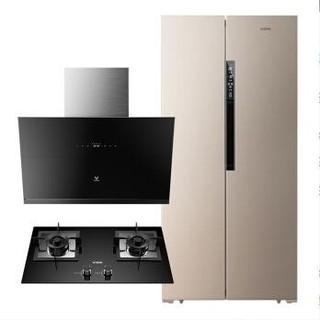 VIOMI 云米 BCD-456WMSD 对开门冰箱+CXW-240-VC301+JZT-VG301 侧吸式烟灶套装